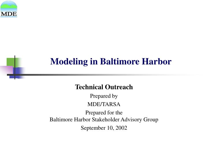 Modeling in Baltimore Harbor