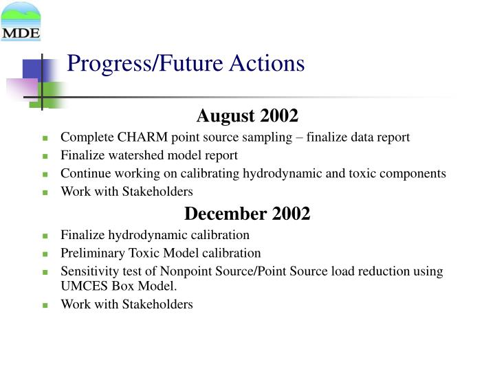 Progress/Future Actions
