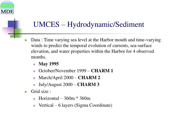 UMCES – Hydrodynamic/Sediment