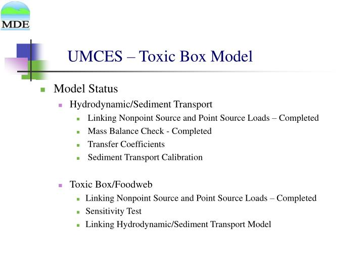 UMCES – Toxic Box Model