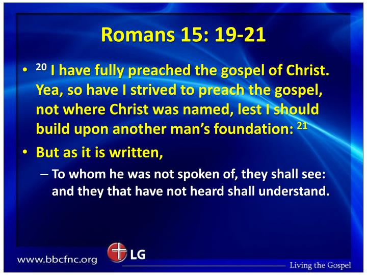 Romans 15: 19-21