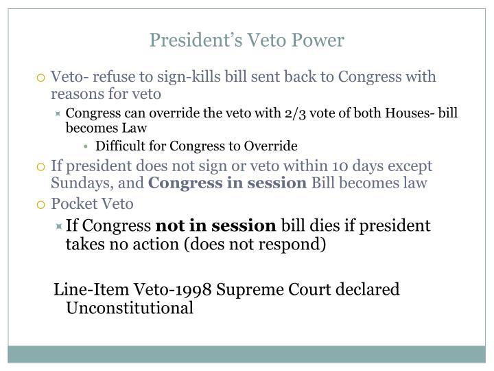 President's Veto Power