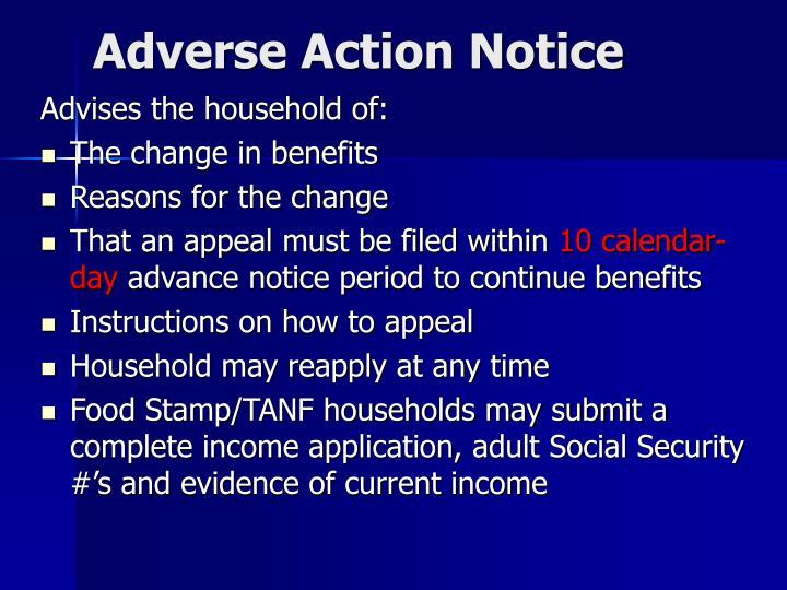 Adverse Action Notice
