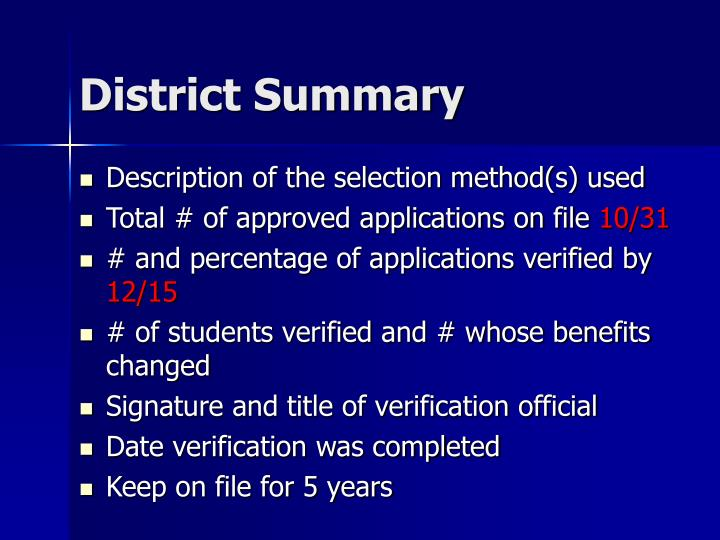 District Summary