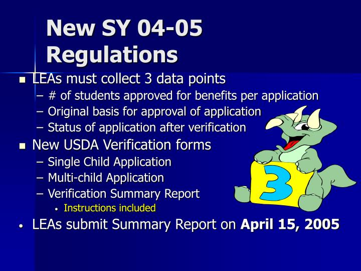 New SY 04-05 Regulations
