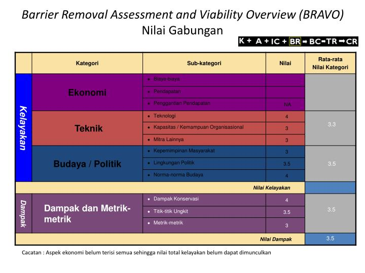 Barrier Removal Assessment and Viability Overview (BRAVO)