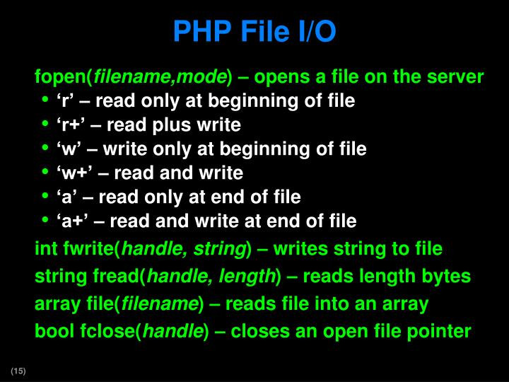 PHP File I/O