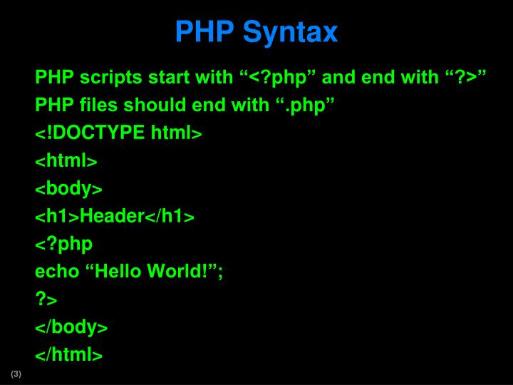 Php syntax