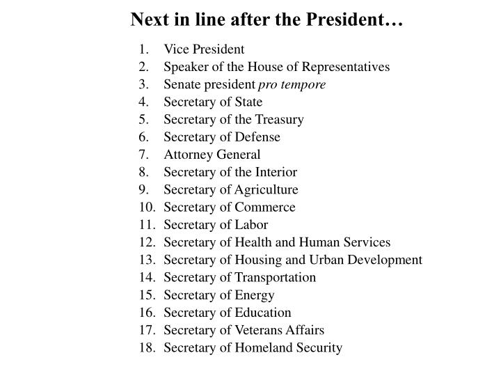 Next in line after the President…