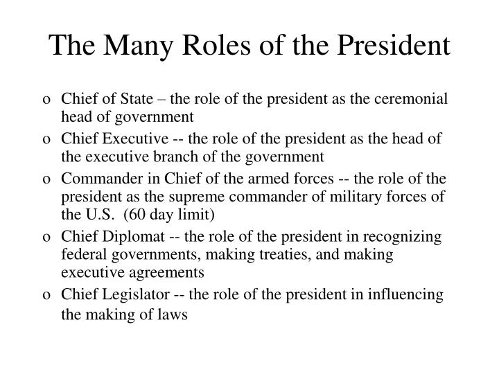 The Many Roles of the President