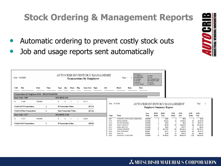 Stock Ordering & Management Reports