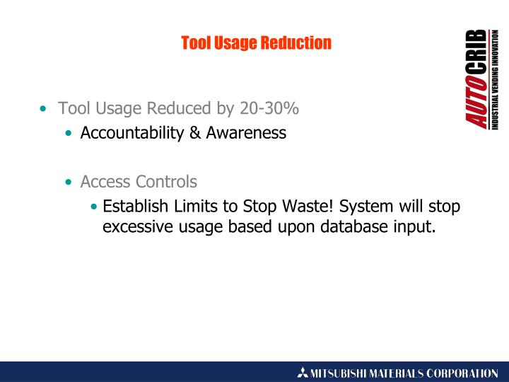 Tool Usage Reduced by 20-30%