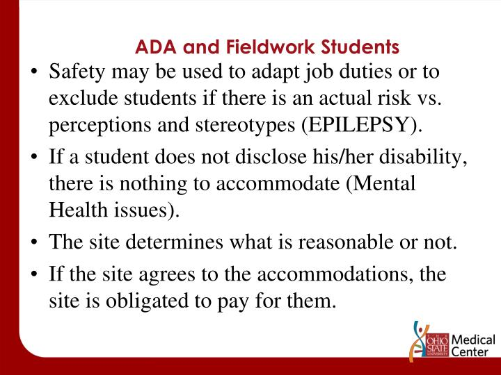 ADA and Fieldwork Students