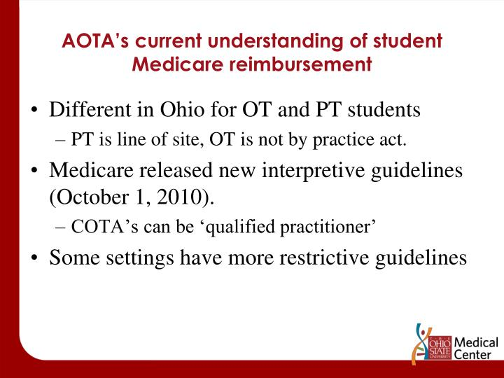 AOTA's current understanding of student Medicare reimbursement