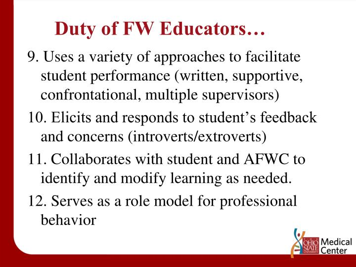 Duty of FW Educators…