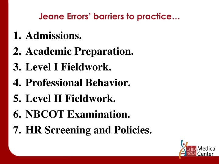Jeane Errors' barriers to practice…
