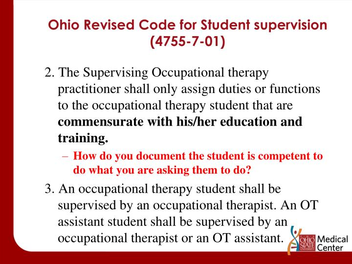 Ohio Revised Code for Student supervision (4755-7-01)