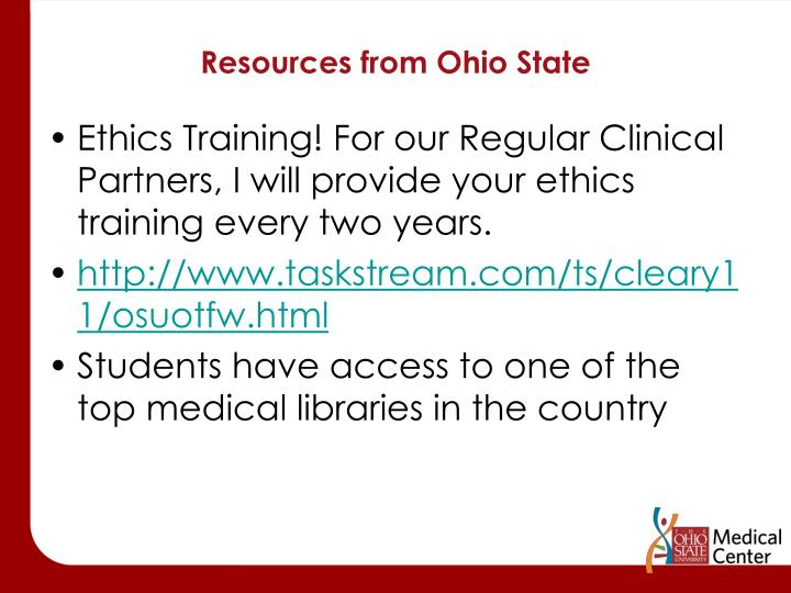 Resources from Ohio State