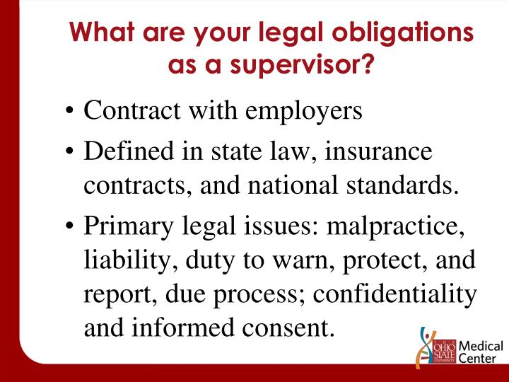 What are your legal obligations as a supervisor?