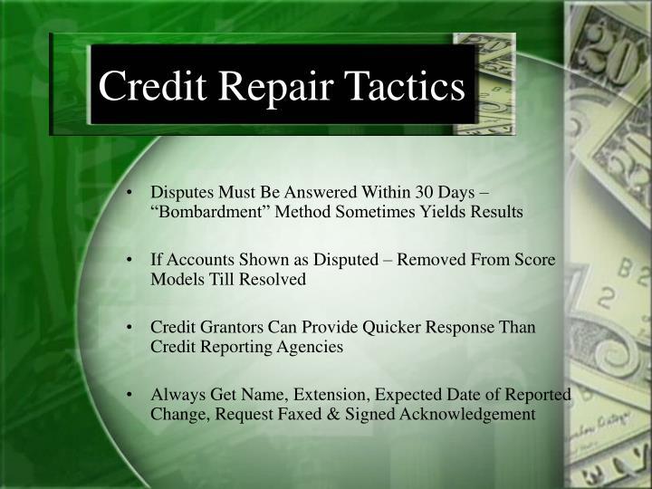 Credit Repair Tactics
