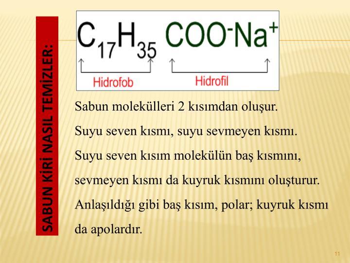 Sabun moleklleri 2 ksmdan oluur.