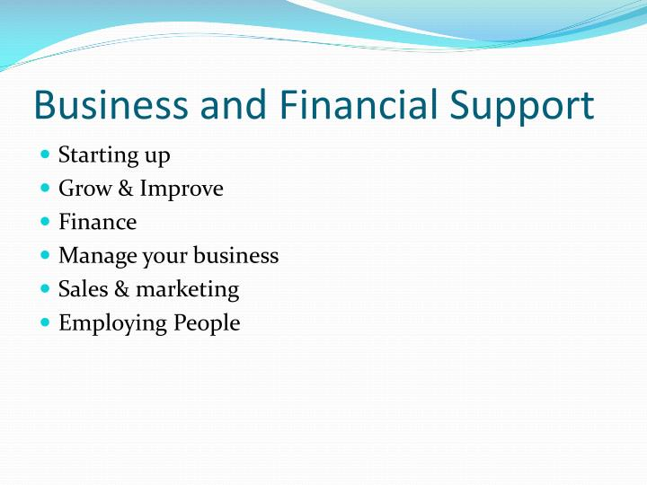 Business and Financial Support