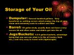 storage of your oil
