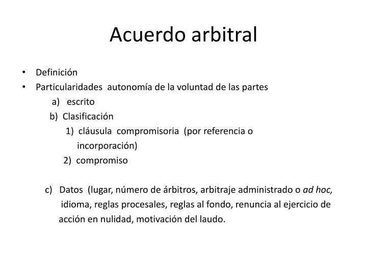 Acuerdo arbitral