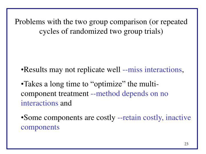 Problems with the two group comparison (or repeated cycles of randomized two group trials)