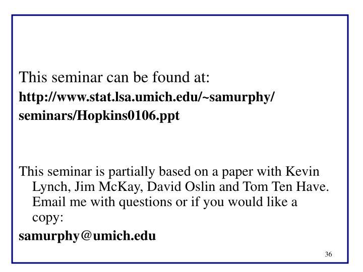 This seminar can be found at: