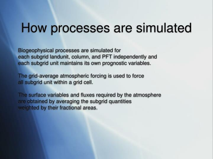 How processes are simulated