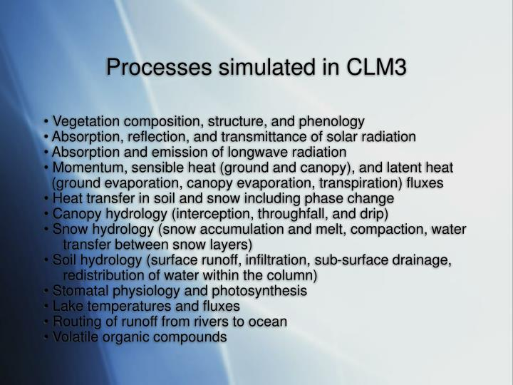 Processes simulated in CLM3