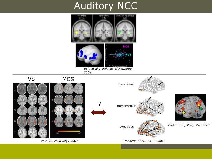 Auditory NCC