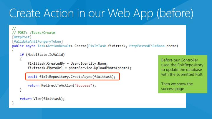 Create Action in our Web App (before)