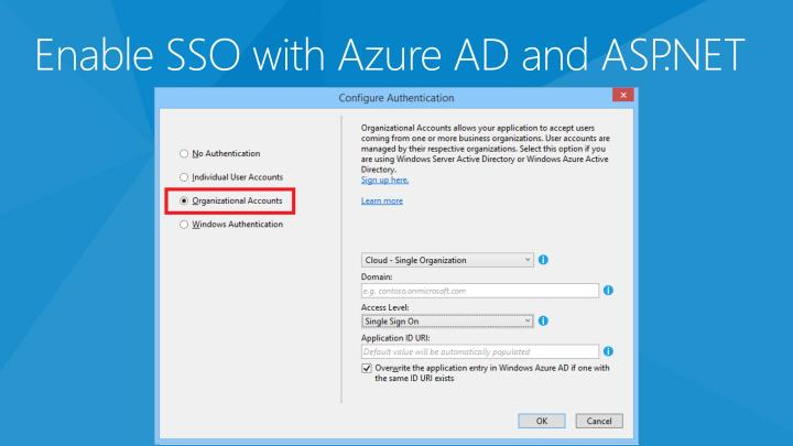 Enable SSO with Azure AD and ASP.NET