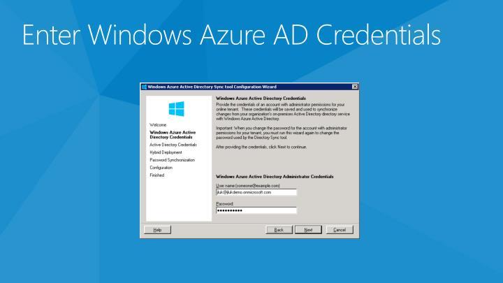 Enter Windows Azure AD Credentials