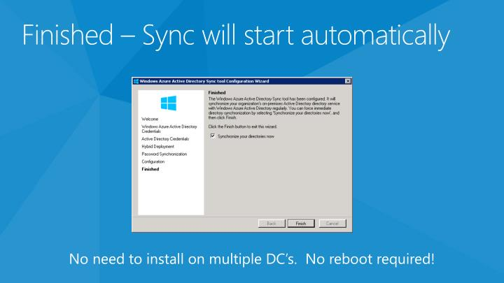 Finished – Sync will start automatically