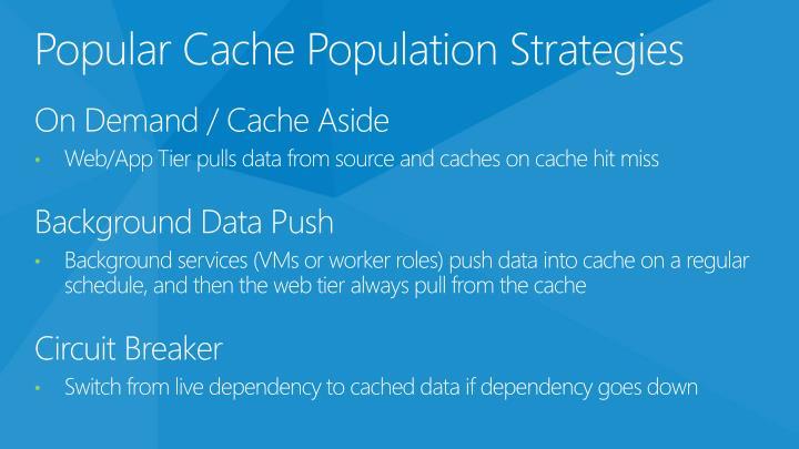 Popular Cache Population Strategies