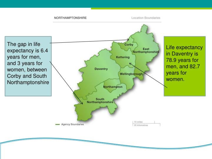 The gap in life expectancy is 6.4 years for men, and 3 years for women, between Corby and South Northamptonshire