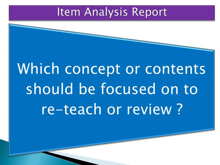 Item Analysis Report