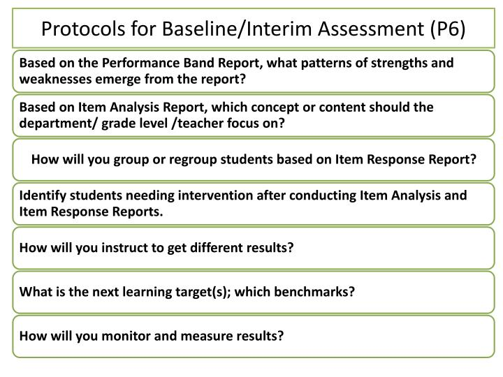Protocols for Baseline/Interim Assessment (P6)