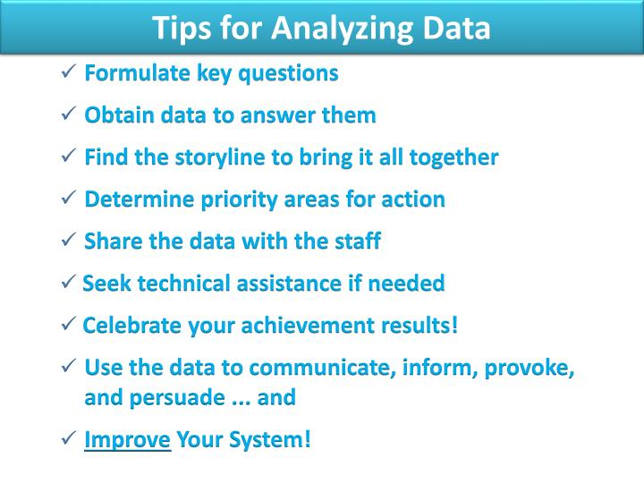 Tips for Analyzing Data
