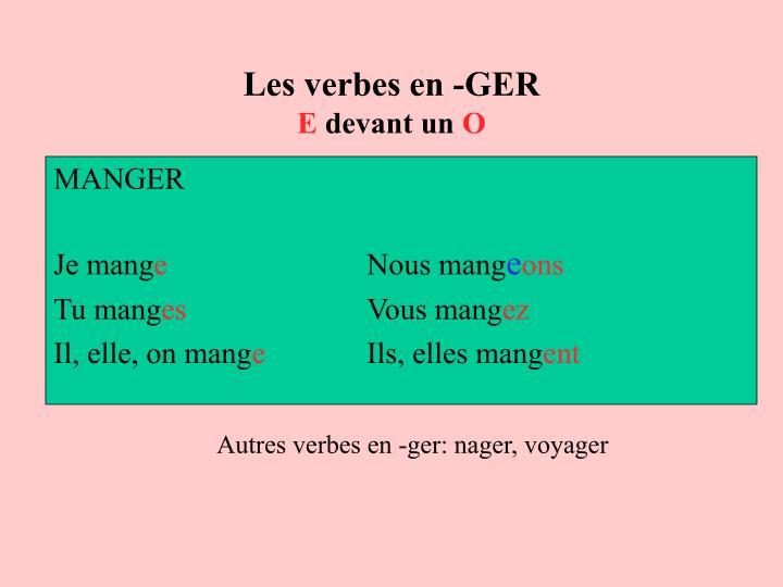 Les verbes en -GER