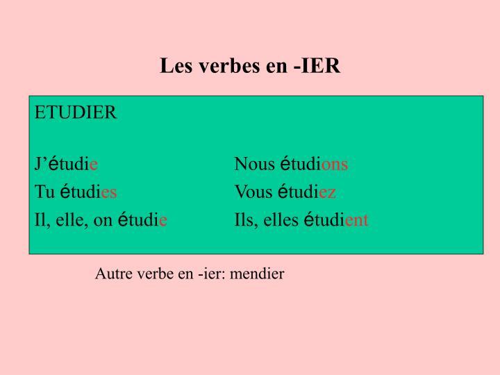 Les verbes en -IER