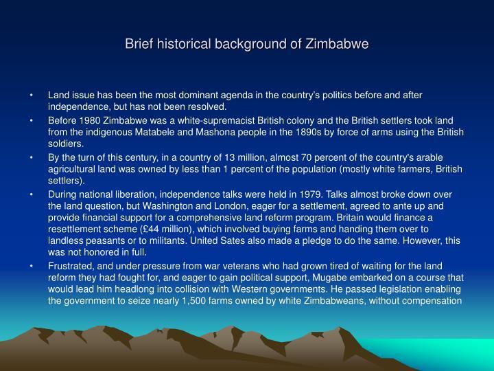 Brief historical background of Zimbabwe