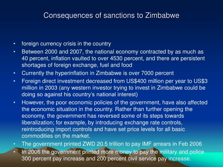 Consequences of sanctions to Zimbabwe