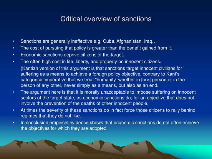 Critical overview of sanctions