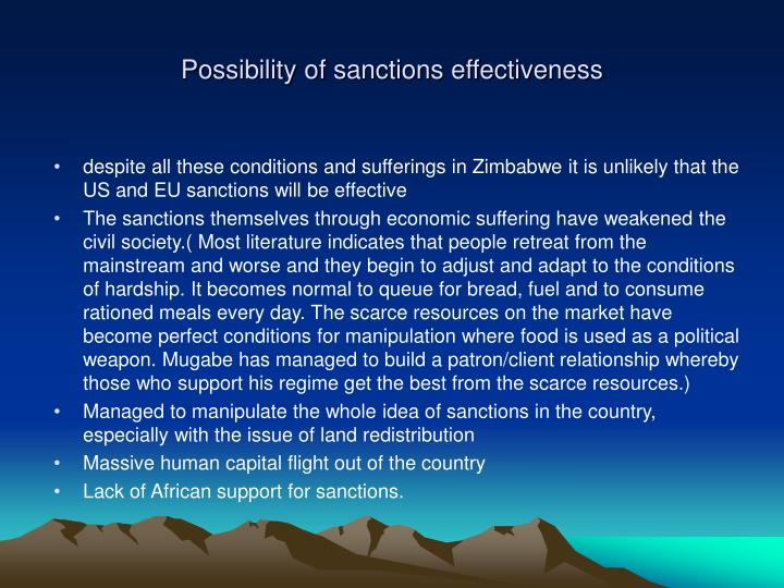 Possibility of sanctions effectiveness