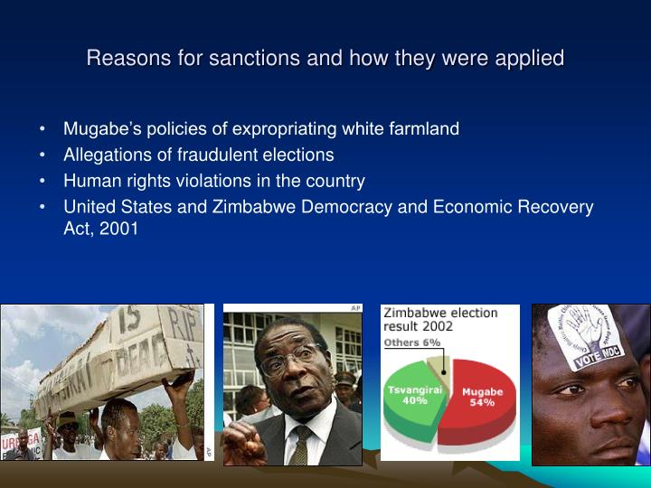 Reasons for sanctions and how they were applied