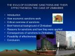 the evils of economic sanctions and their effectiveness the case of zimbabwe